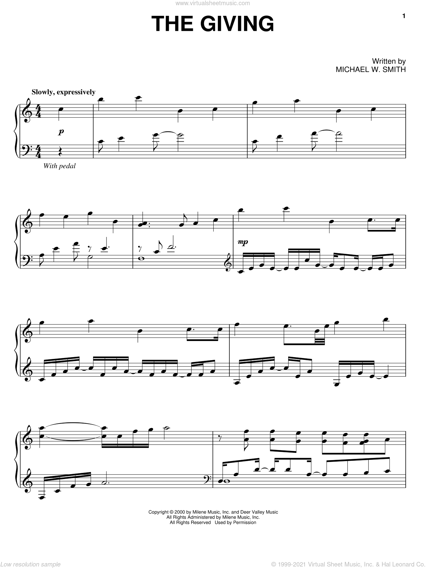 The Giving sheet music for piano solo by Michael W. Smith. Score Image Preview.