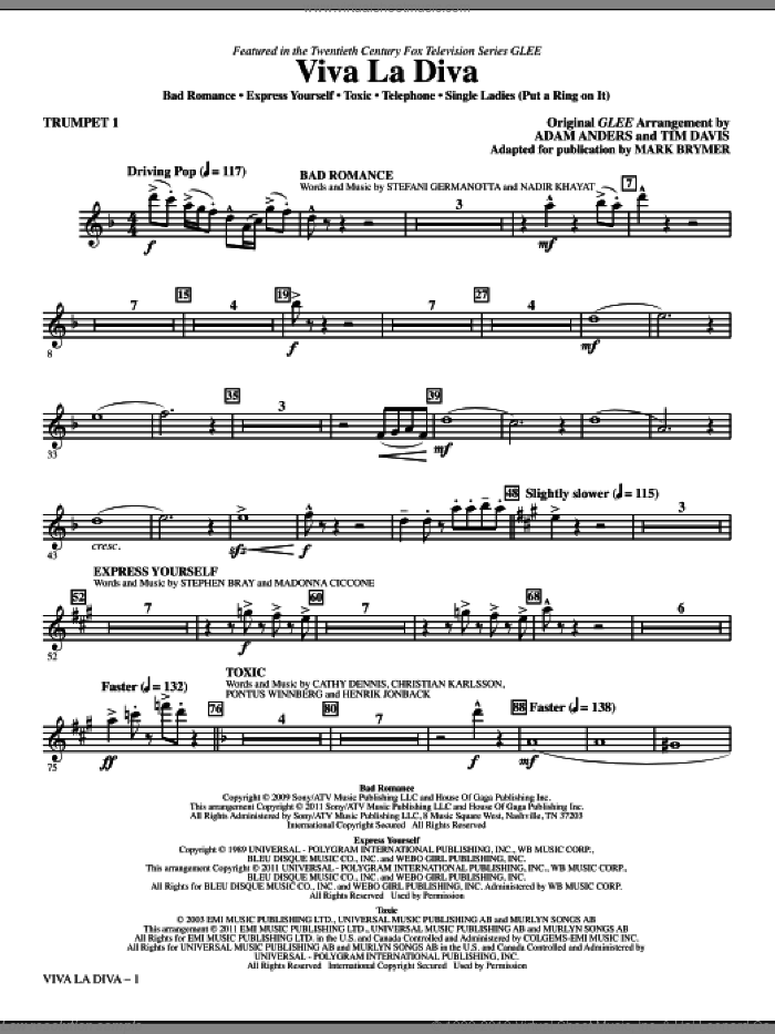 Viva La Diva! (Medley featuring Songs from Glee) (complete set of parts) sheet music for orchestra/band (chamber ensemble) by Mark Brymer, Glee Cast and Miscellaneous, intermediate. Score Image Preview.