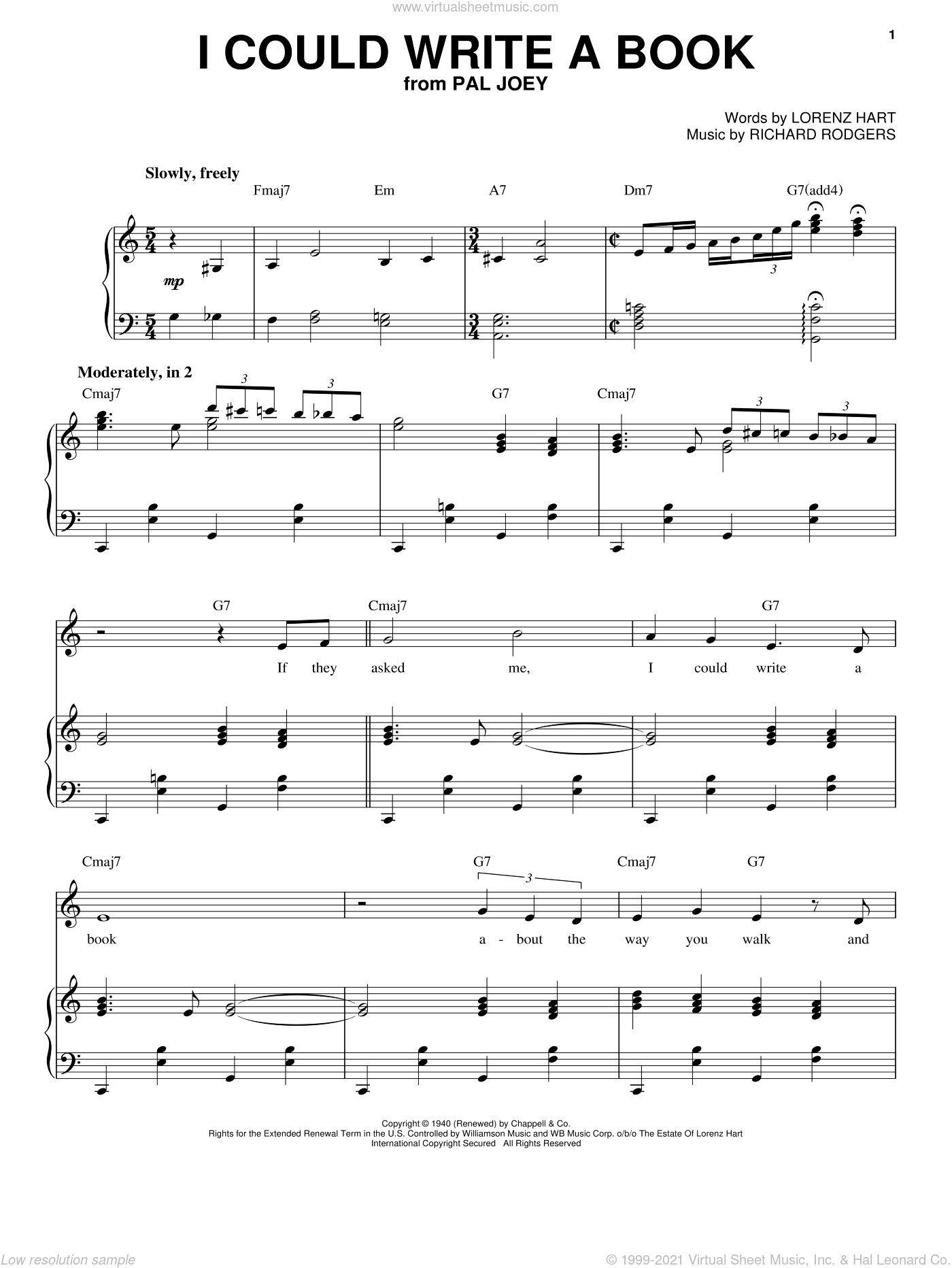 I Could Write A Book sheet music for voice and piano by Richard Rodgers, Frank Sinatra, Rodgers & Hart and Lorenz Hart. Score Image Preview.