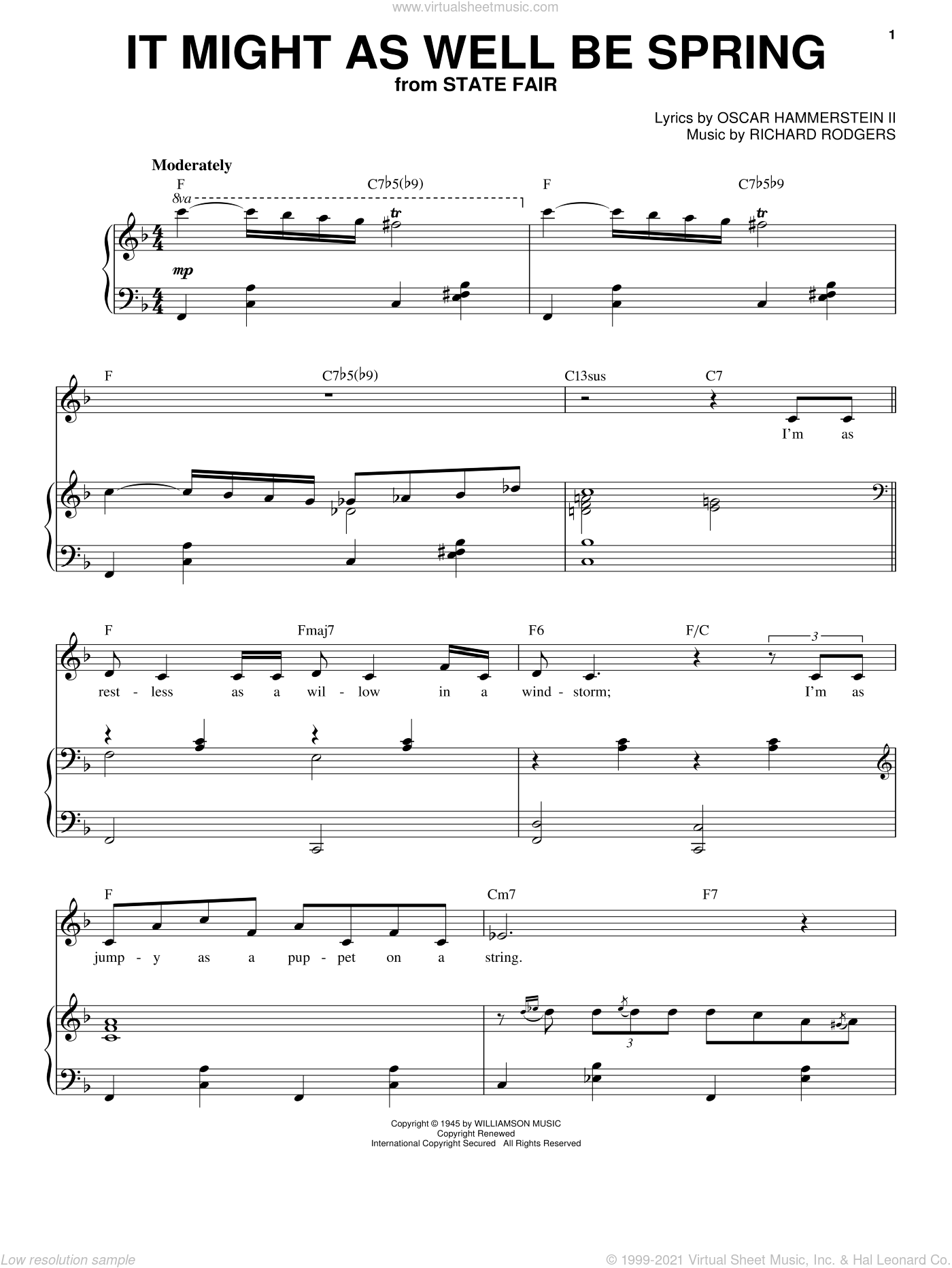 It Might As Well Be Spring sheet music for voice and piano by Frank Sinatra, Rodgers & Hammerstein, Oscar II Hammerstein and Richard Rodgers. Score Image Preview.