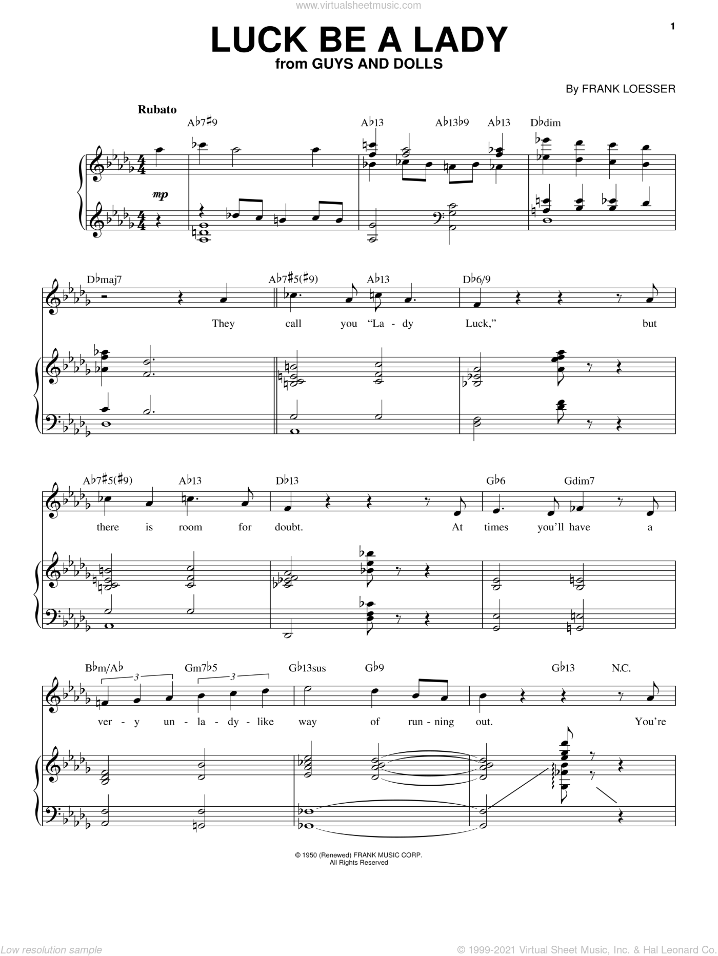 Luck Be A Lady sheet music for voice and piano by Frank Sinatra, Guys And Dolls (Musical) and Frank Loesser, intermediate skill level