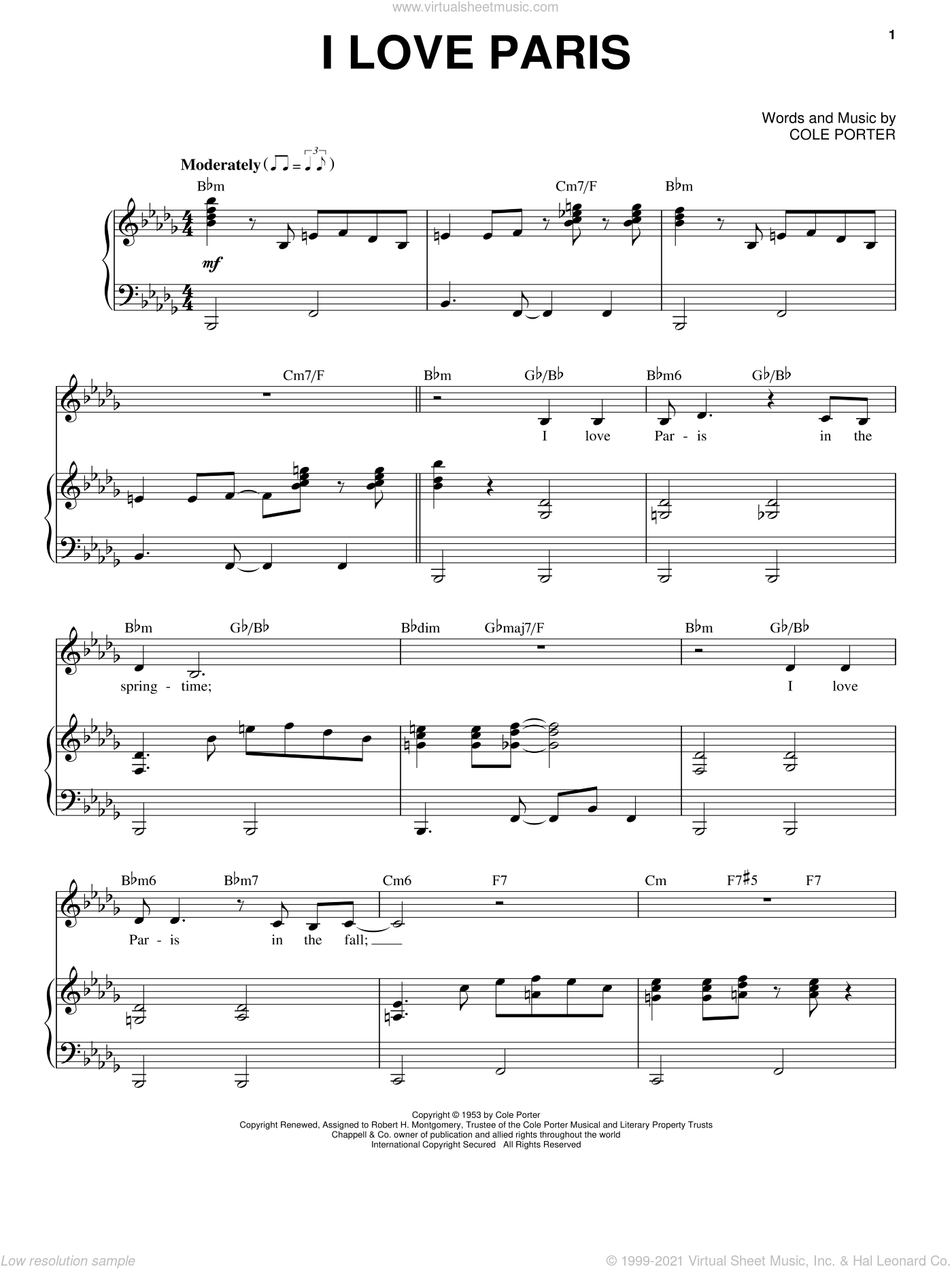 I Love Paris sheet music for voice and piano by Frank Sinatra and Cole Porter, intermediate skill level