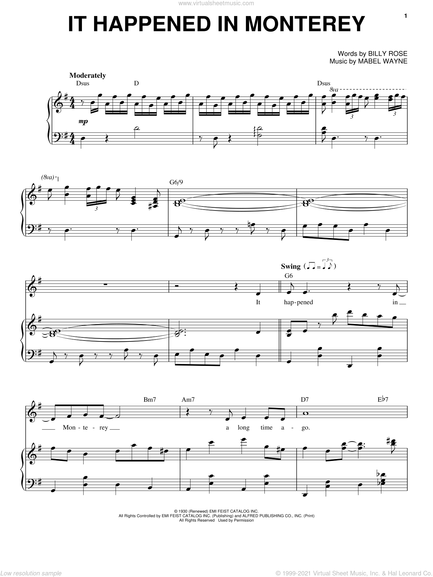 It Happened In Monterey sheet music for voice and piano by Frank Sinatra, Billy Rose and Mabel Wayne, intermediate skill level