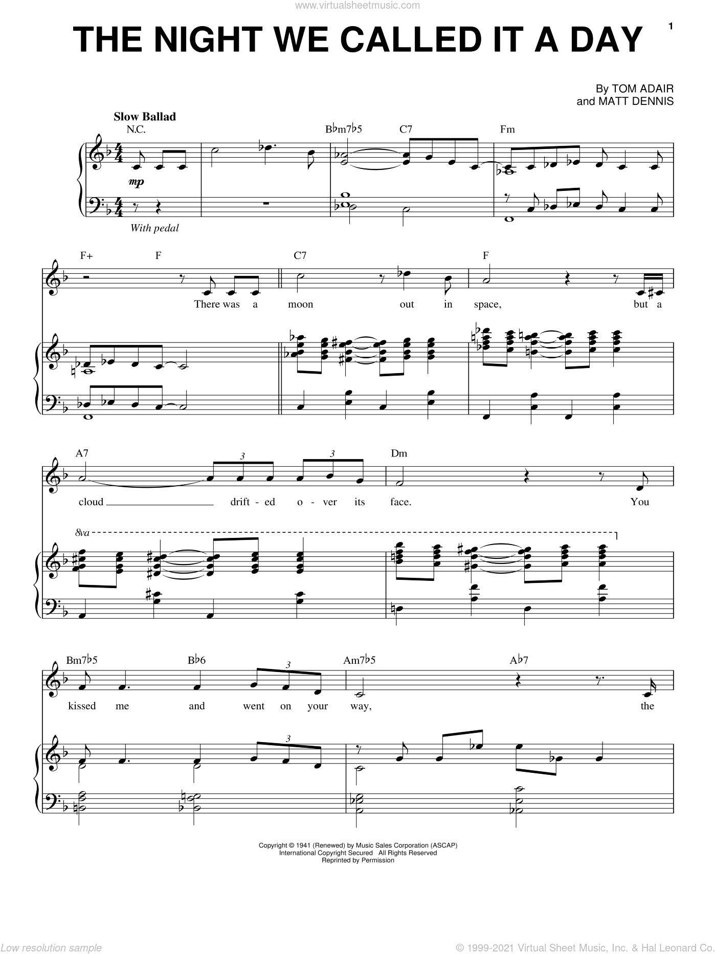 The Night We Called It A Day sheet music for voice and piano by Frank Sinatra, Matt Dennis and Tom Adair, intermediate skill level