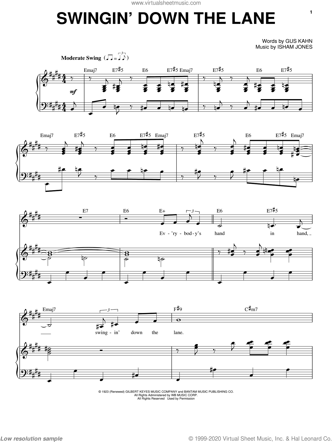 Swingin' Down The Lane sheet music for voice and piano by Frank Sinatra, Gus Kahn and Isham Jones, intermediate skill level