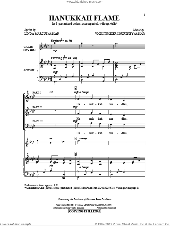 Hanukkah Flame sheet music for choir and piano (chamber ensemble) by Vicki Tucker Courtney and Linda Marcus. Score Image Preview.