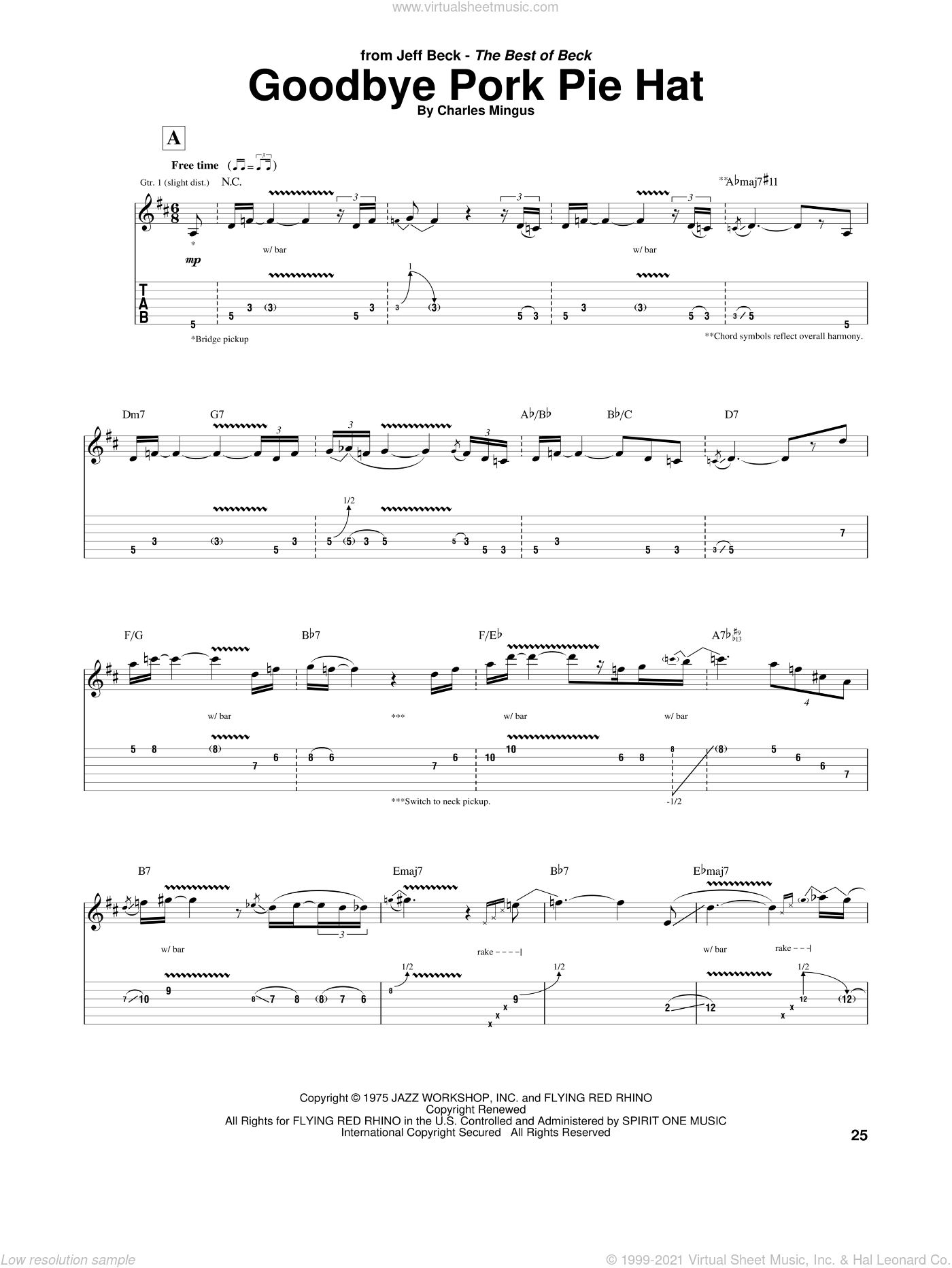 Goodbye Pork Pie Hat sheet music for guitar (tablature) by Jeff Beck and Charles Mingus, intermediate skill level