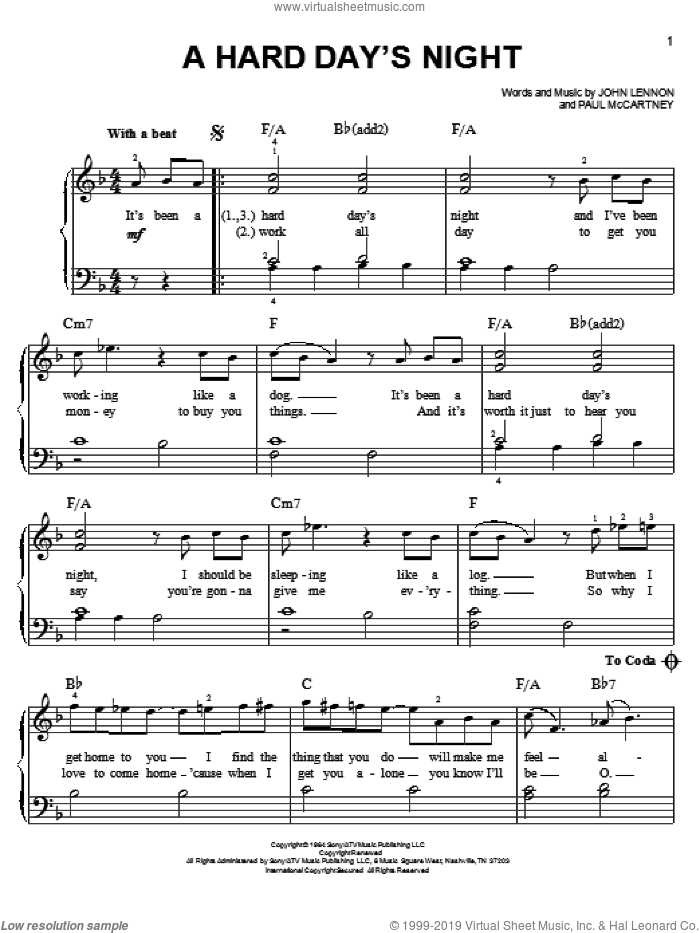 A Hard Day's Night sheet music for piano solo (chords) by Paul McCartney