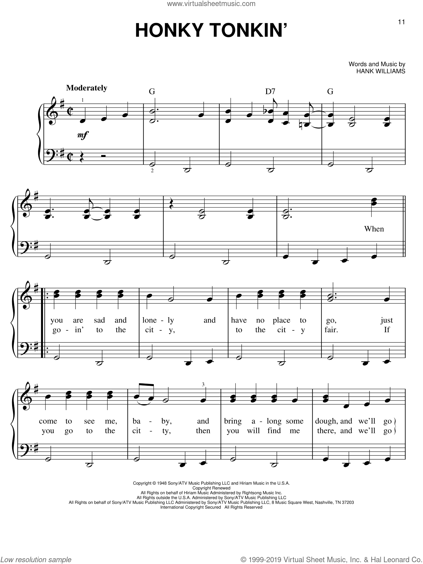 Honky Tonkin' sheet music for piano solo by Hank Williams, easy piano. Score Image Preview.