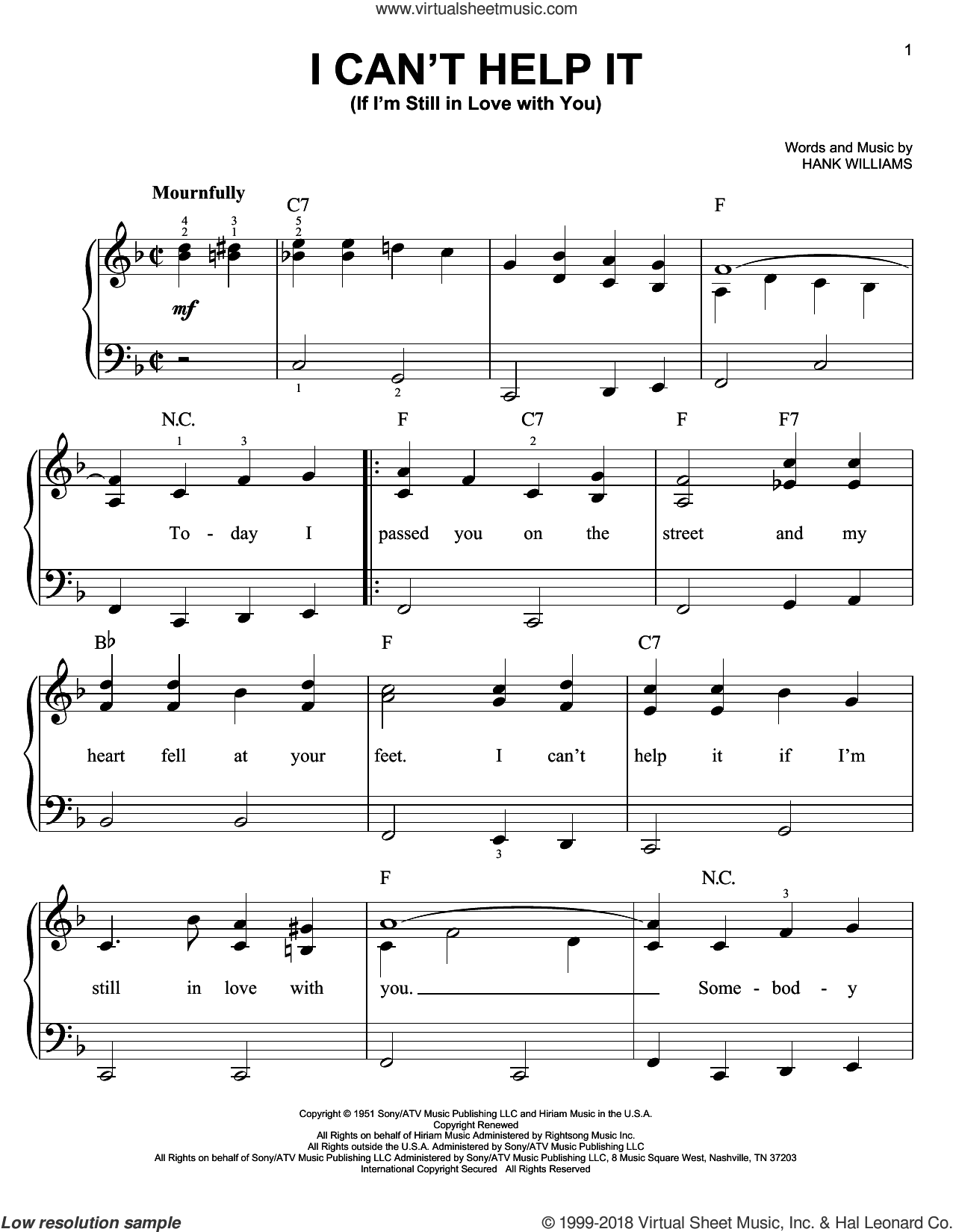 I Can't Help It (If I'm Still In Love With You) sheet music for piano solo by Hank Williams, beginner skill level