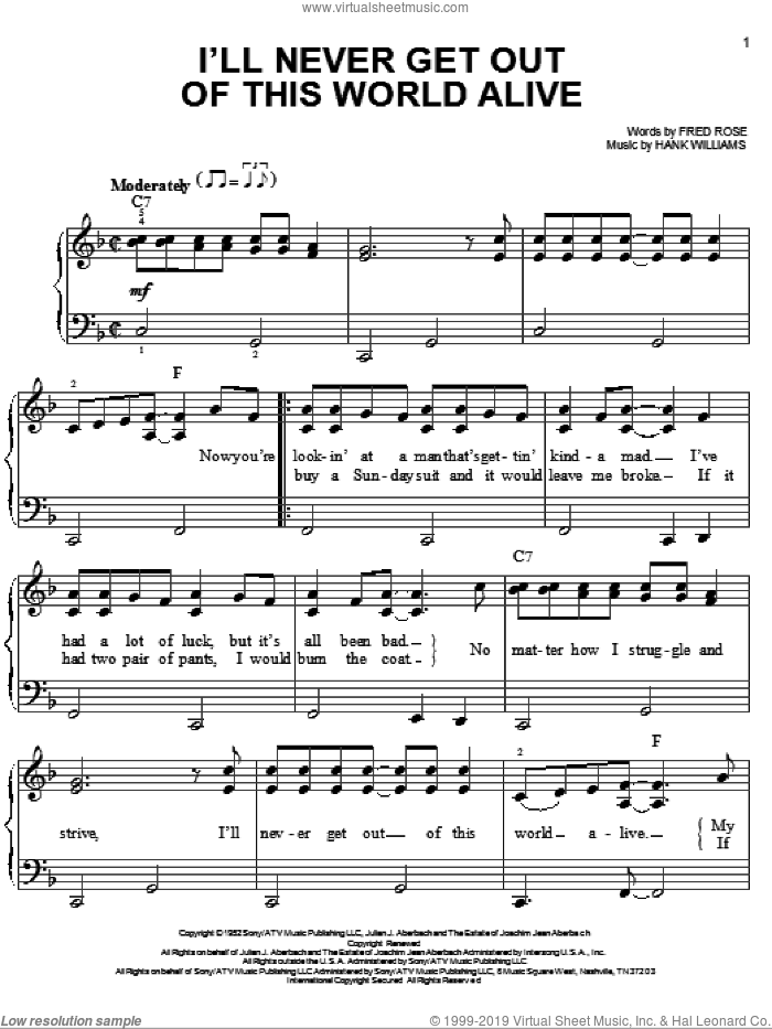 I'll Never Get Out Of This World Alive sheet music for piano solo by Hank Williams and Fred Rose, easy piano. Score Image Preview.