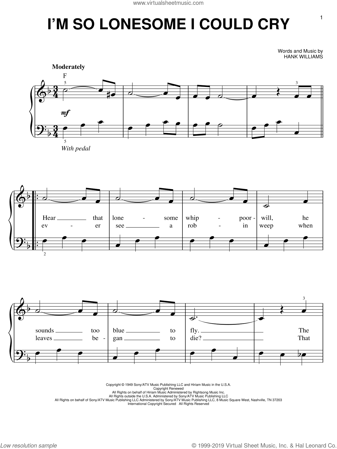I'm So Lonesome I Could Cry sheet music for piano solo by Hank Williams and Elvis Presley, easy skill level