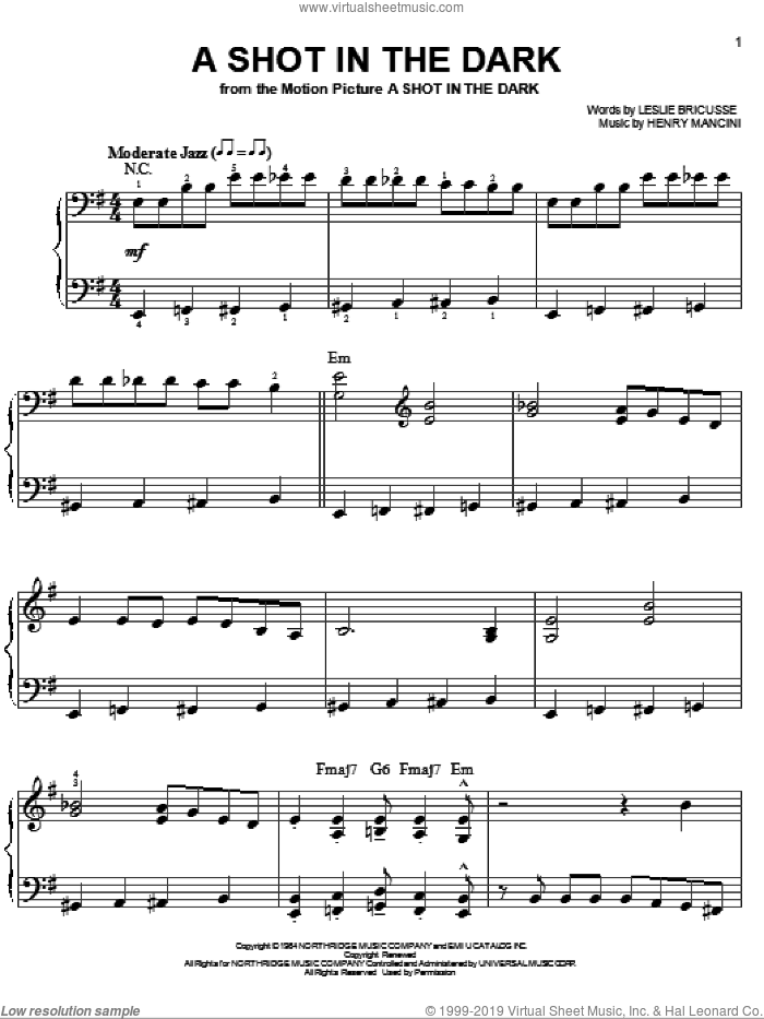 A Shot In The Dark sheet music for piano solo by Henry Mancini and Leslie Bricusse, easy. Score Image Preview.