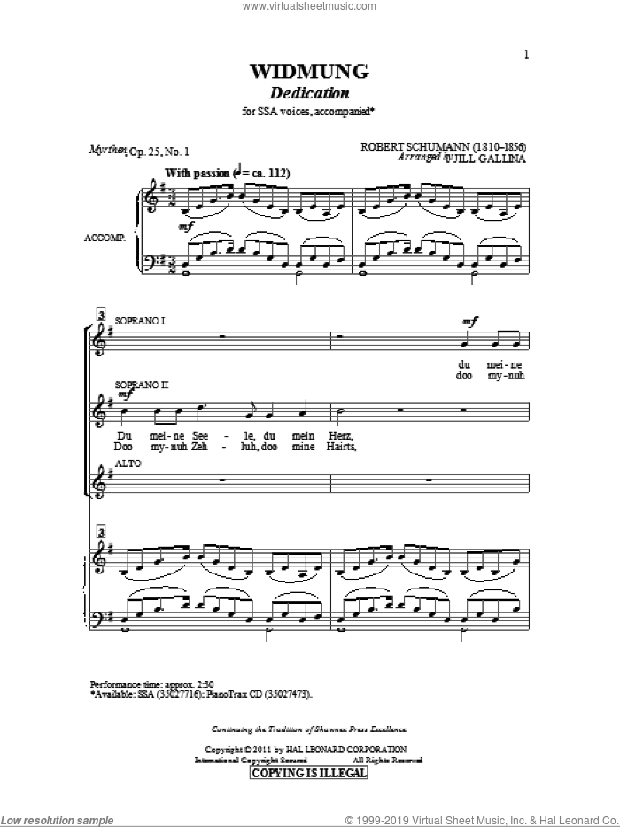 Widmung sheet music for choir and piano (SSA) by Robert Schumann and Jill Gallina