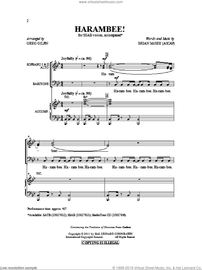 Harambee! sheet music for choir (SSAB) by Greg Gilpin and Brian McSee, intermediate skill level
