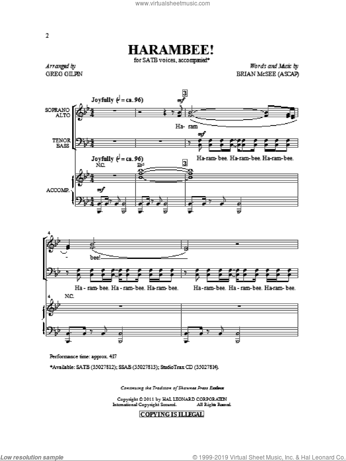 Harambee! sheet music for choir (SATB: soprano, alto, tenor, bass) by Greg Gilpin and Brian McSee, intermediate skill level