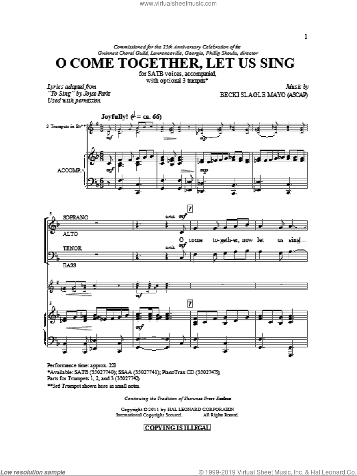 O Come Together, Let Us Sing sheet music for choir (SATB: soprano, alto, tenor, bass) by Becki Slagle Mayo and Joyce Parks, intermediate skill level