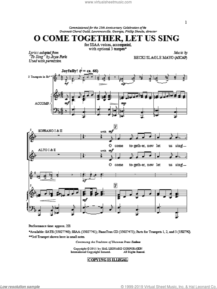 O Come Together, Let Us Sing sheet music for choir (SSA: soprano, alto) by Becki Slagle Mayo and Joyce Parks, intermediate skill level
