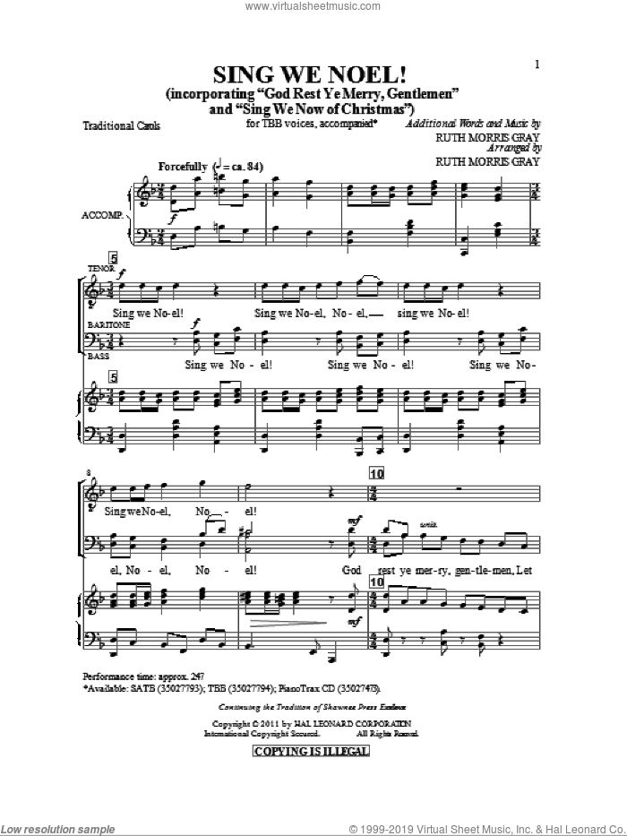 Sing We Noel sheet music for choir and piano (TBB) by Ruth Morris Gray. Score Image Preview.