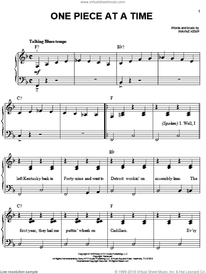 One Piece At A Time sheet music for piano solo by Wayne Kemp and Johnny Cash. Score Image Preview.