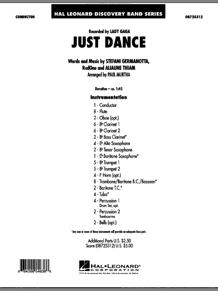Just Dance sheet music for concert band (full score) by Lady Gaga, Aliaune Thiam, RedOne and Paul Murtha, intermediate. Score Image Preview.