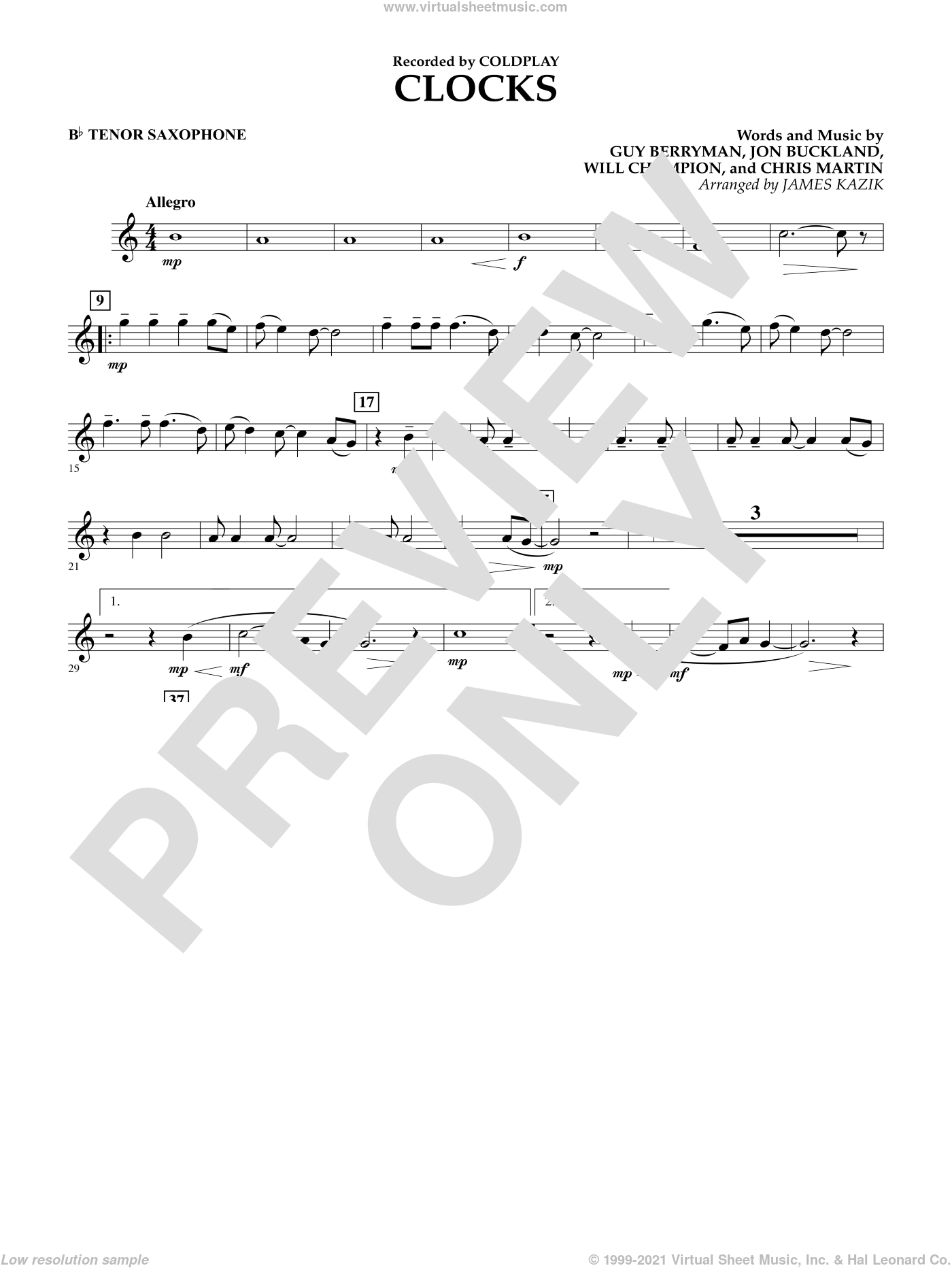 Clocks sheet music for concert band (Bb tenor saxophone) by Chris Martin