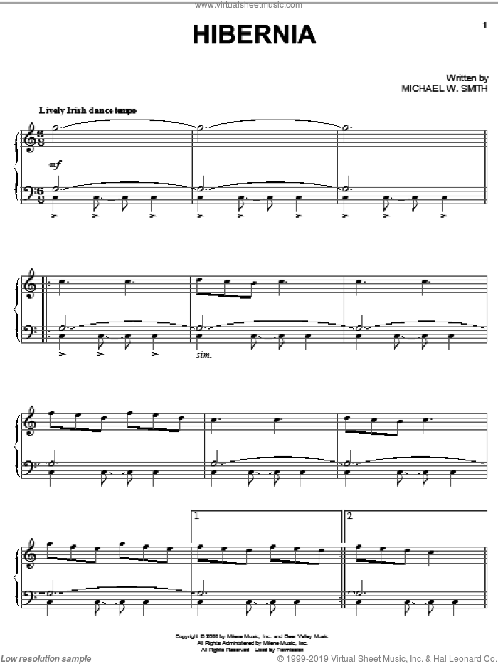 Hibernia sheet music for piano solo by Michael W. Smith, intermediate skill level