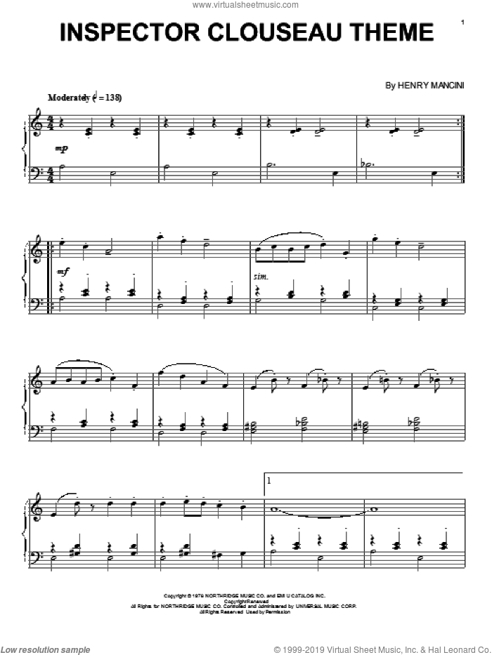 Inspector Clouseau Theme sheet music for piano solo by Henry Mancini, intermediate skill level
