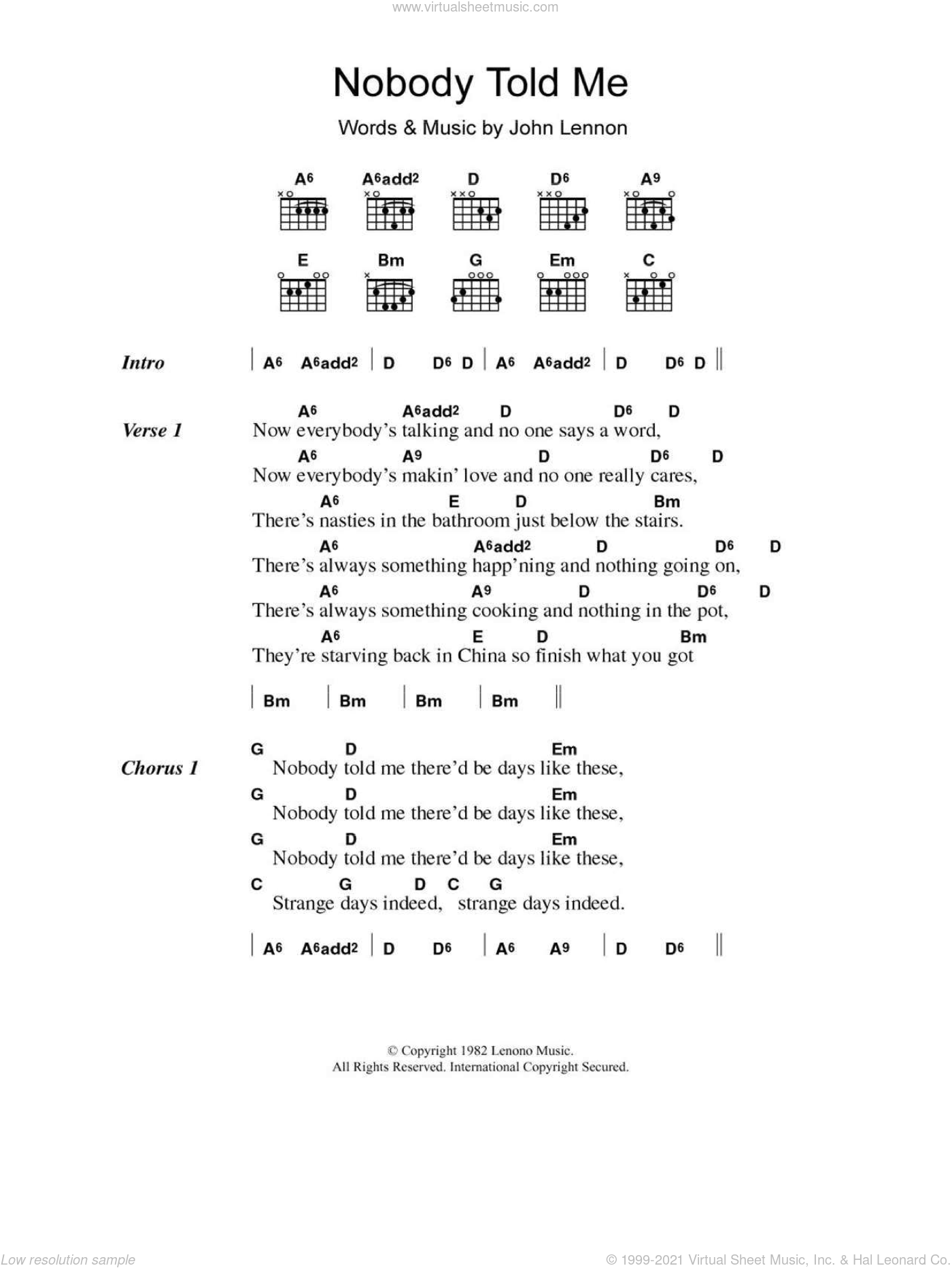Nobody Told Me sheet music for guitar (chords) by John Lennon. Score Image Preview.