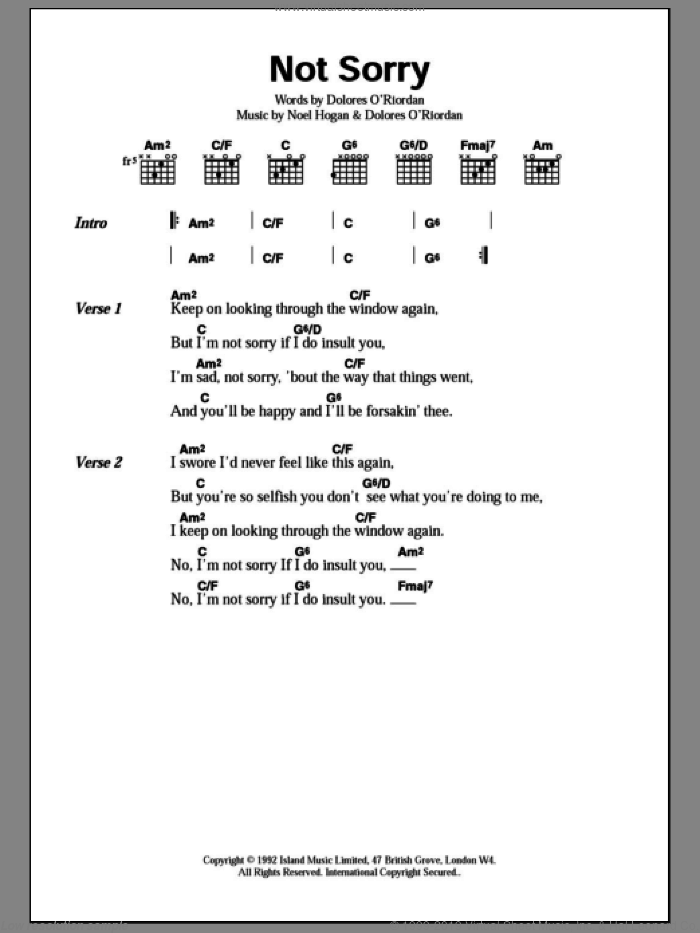 Cranberries - Not Sorry sheet music for guitar (chords) [PDF]
