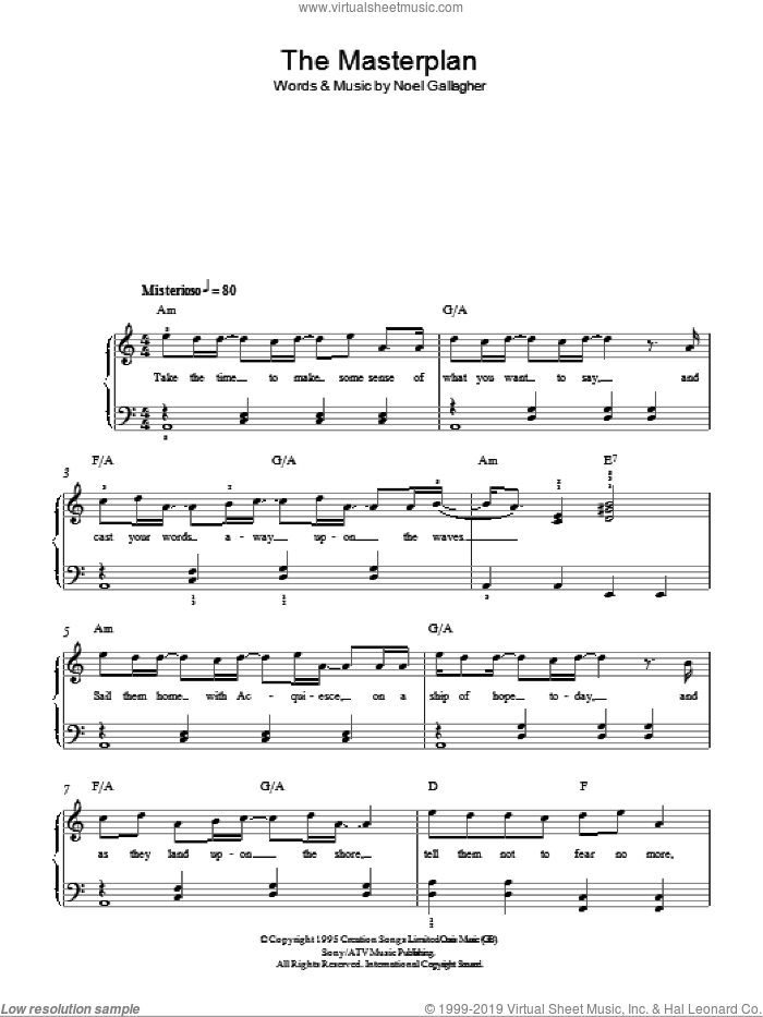 The Masterplan sheet music for piano solo by Oasis and Noel Gallagher, easy skill level