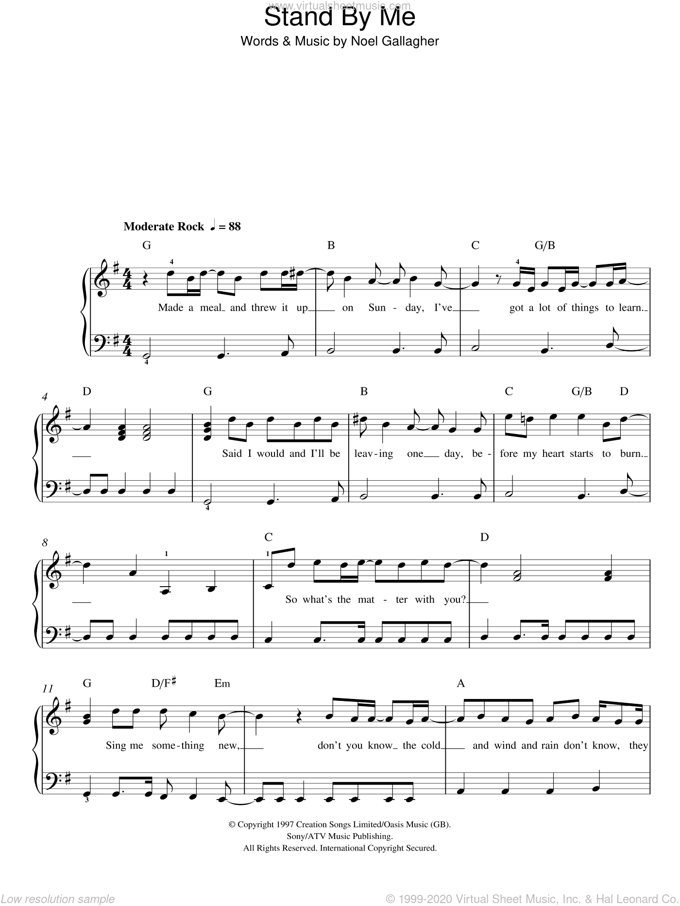 Stand By Me sheet music for piano solo by Oasis, Merle Travis and Noel Gallagher, easy skill level