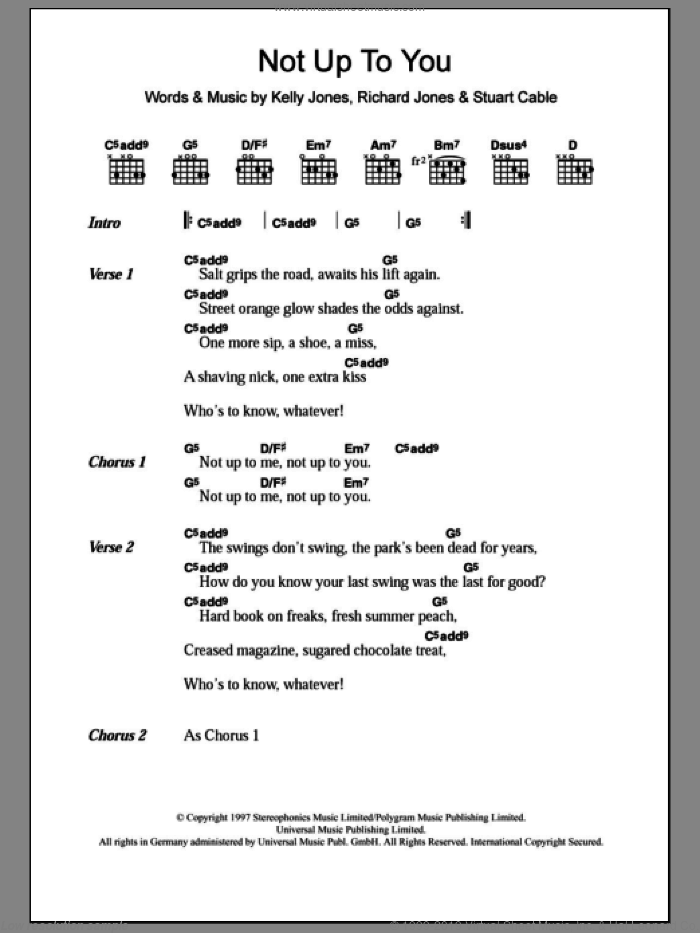 Not Up To You sheet music for guitar (chords) by Stuart Cable, Stereophonics, Kelly Jones and Richard Jones. Score Image Preview.