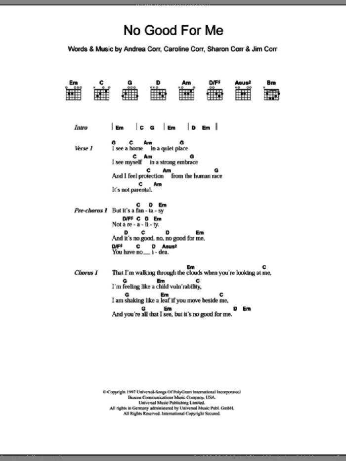 No Good For Me sheet music for guitar (chords, lyrics, melody) by Sharon Corr