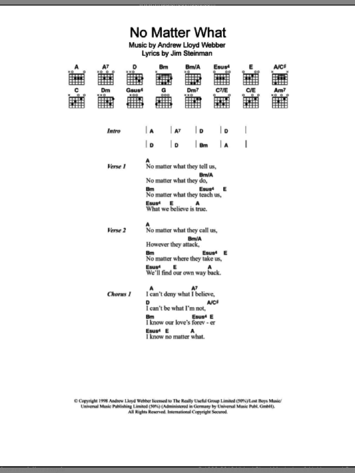 No Matter What sheet music for guitar (chords) by Boyzone, Andrew Lloyd Webber and Jim Steinman. Score Image Preview.