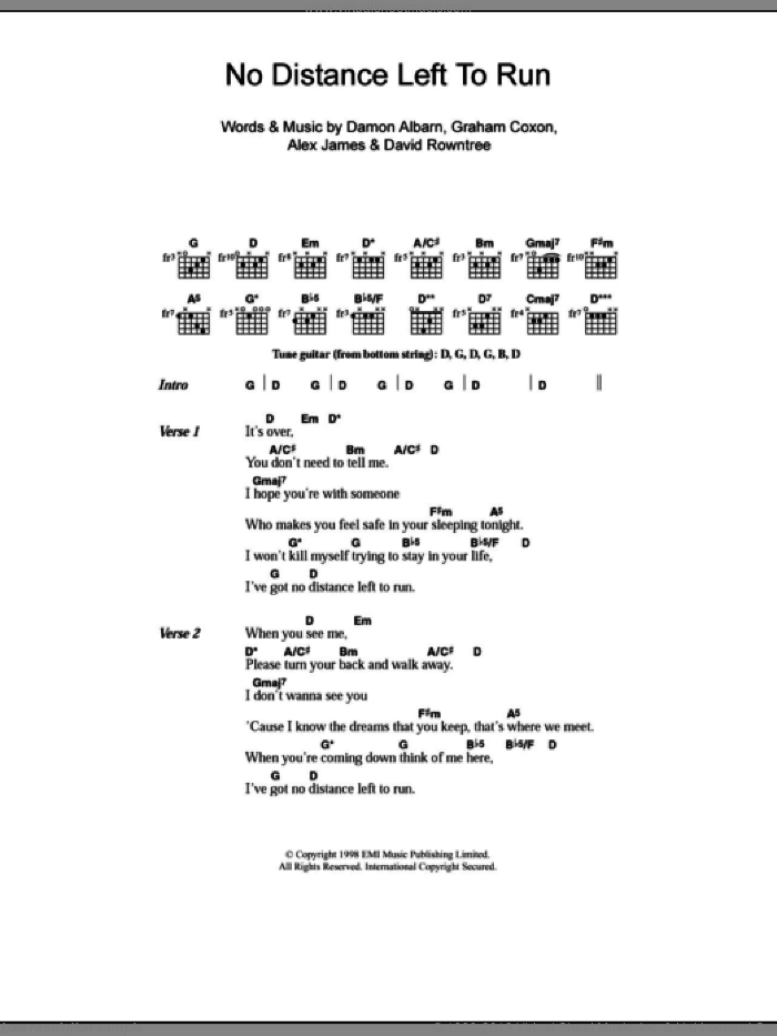 No Distance Left To Run sheet music for guitar (chords) by Graham Coxon, Blur, Alex James and Damon Albarn. Score Image Preview.