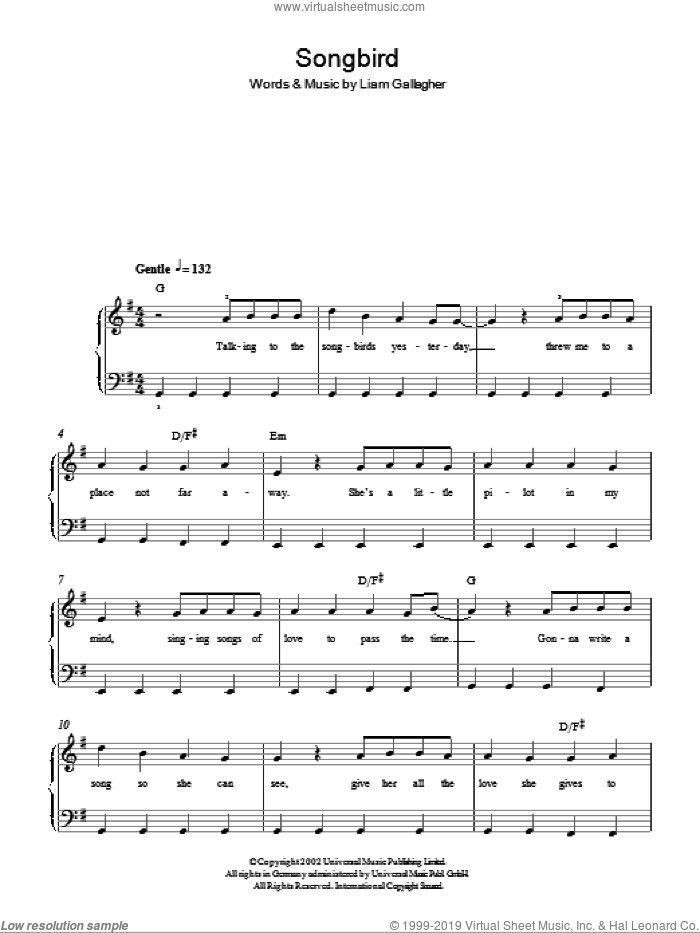 Songbird sheet music for piano solo by Liam Gallagher and Oasis. Score Image Preview.