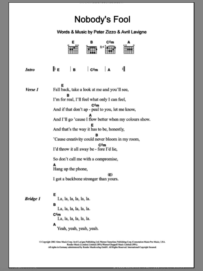 Nobody's Fool sheet music for guitar (chords) by Peter Zizzo and Avril Lavigne. Score Image Preview.