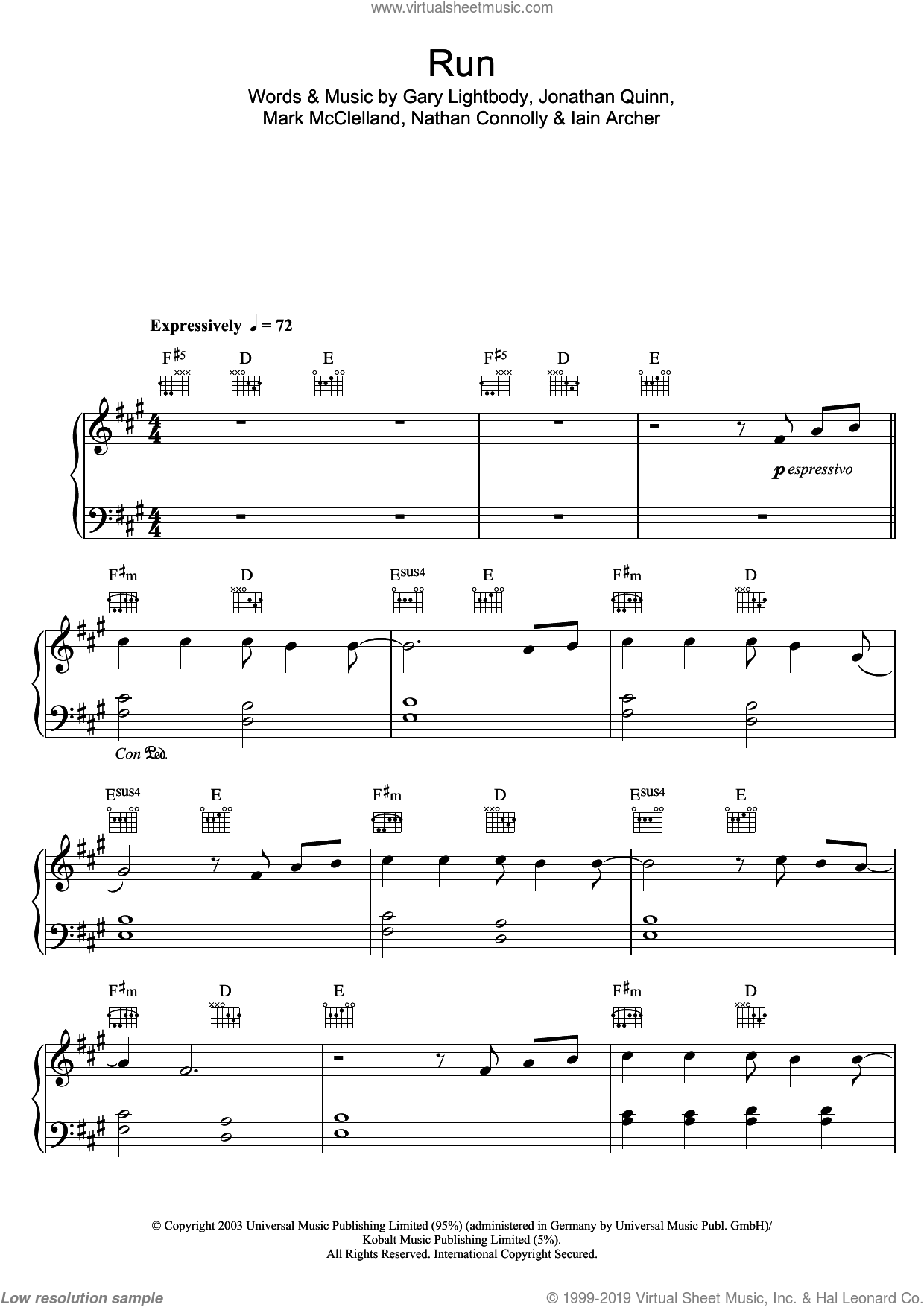 Run sheet music for piano solo by Leona Lewis, Snow Patrol, Gary Lightbody, Iain Archer, Jonathan Quinn, Mark McClelland and Nathan Connolly, easy skill level