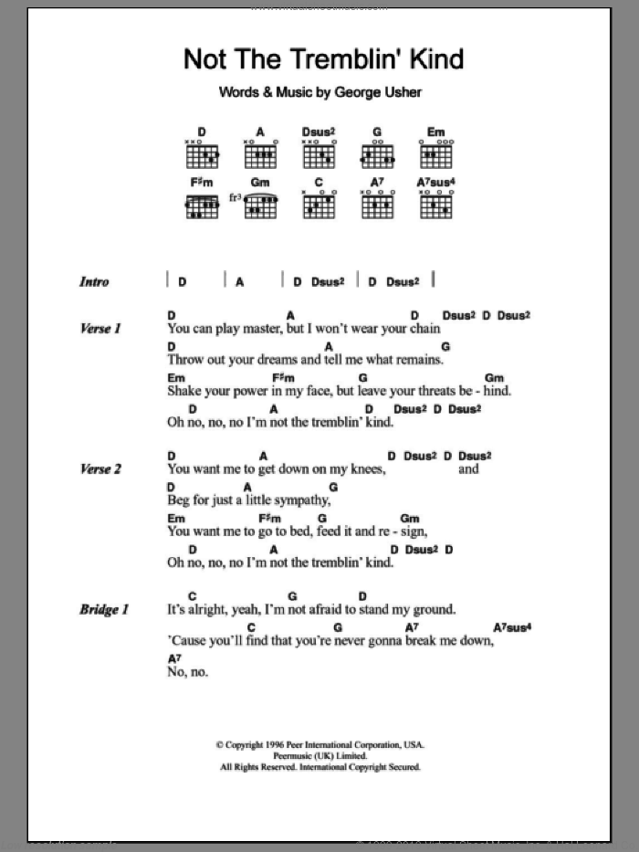Not The Tremblin' Kind sheet music for guitar (chords) by Laura Cantrell and George Usher, intermediate skill level