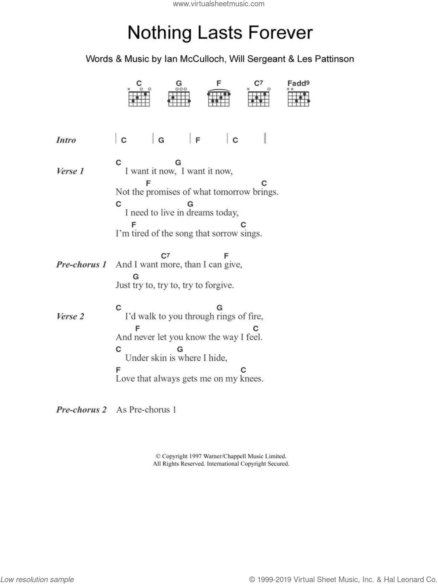 Nothing Lasts Forever sheet music for guitar (chords) by Will Sergeant