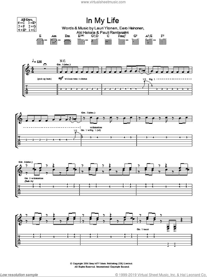 In My Life sheet music for guitar (tablature) by The Rasmus. Score Image Preview.
