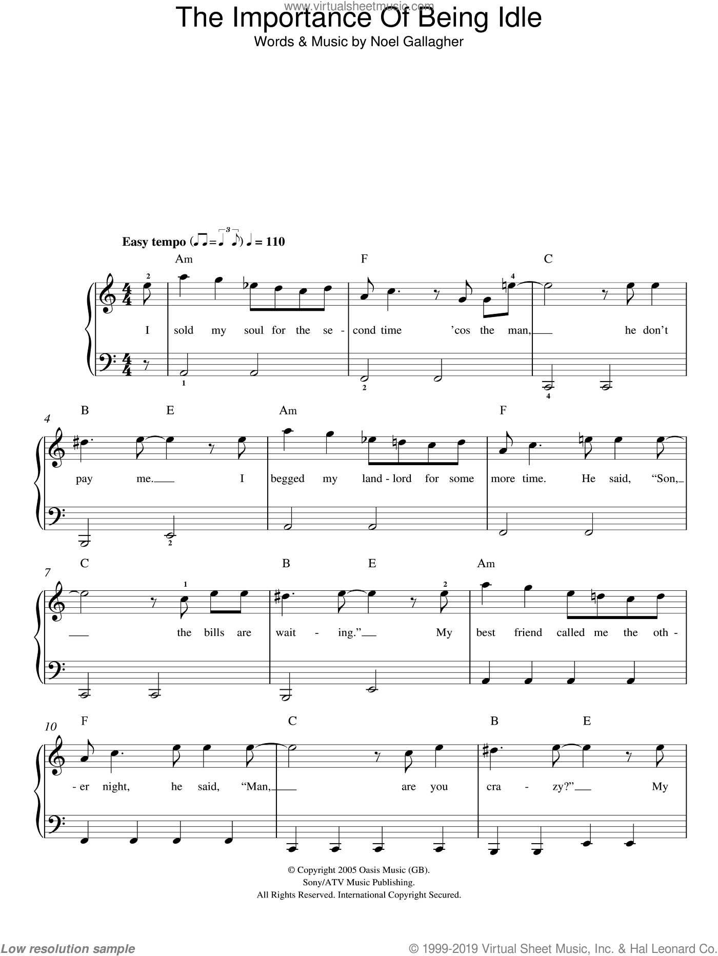 The Importance Of Being Idle sheet music for piano solo by Oasis and Noel Gallagher, easy skill level
