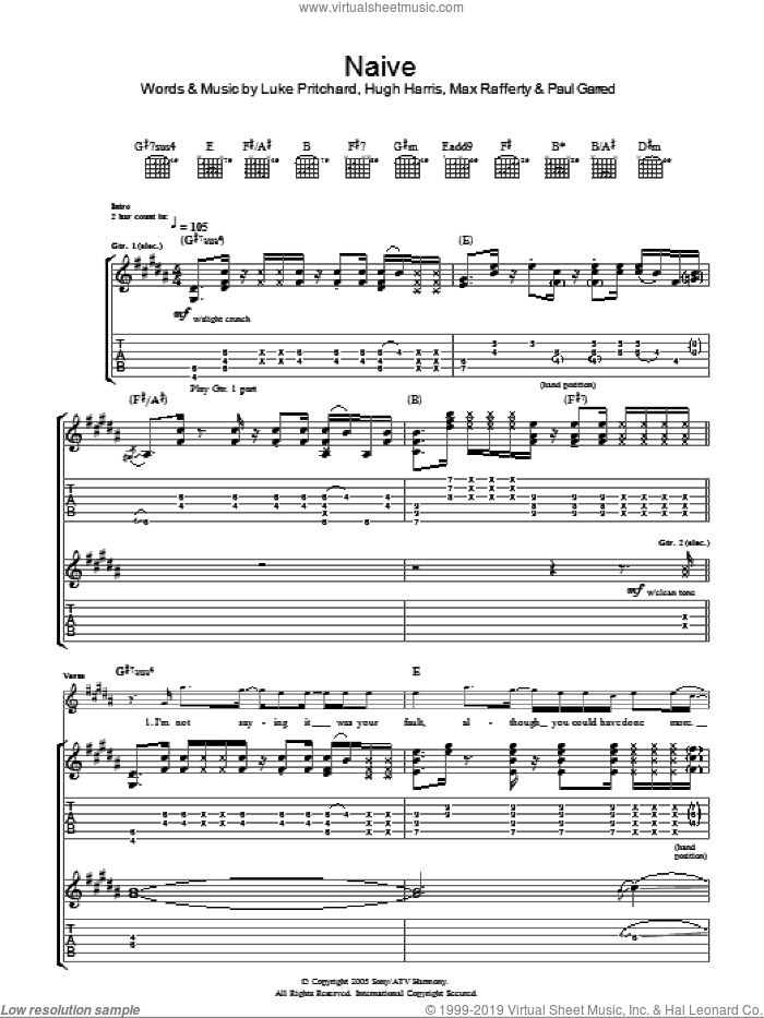 Naive sheet music for guitar (tablature) by The Kooks, Hugh Harris, Luke Pritchard, Max Rafferty and Paul Garred, intermediate. Score Image Preview.