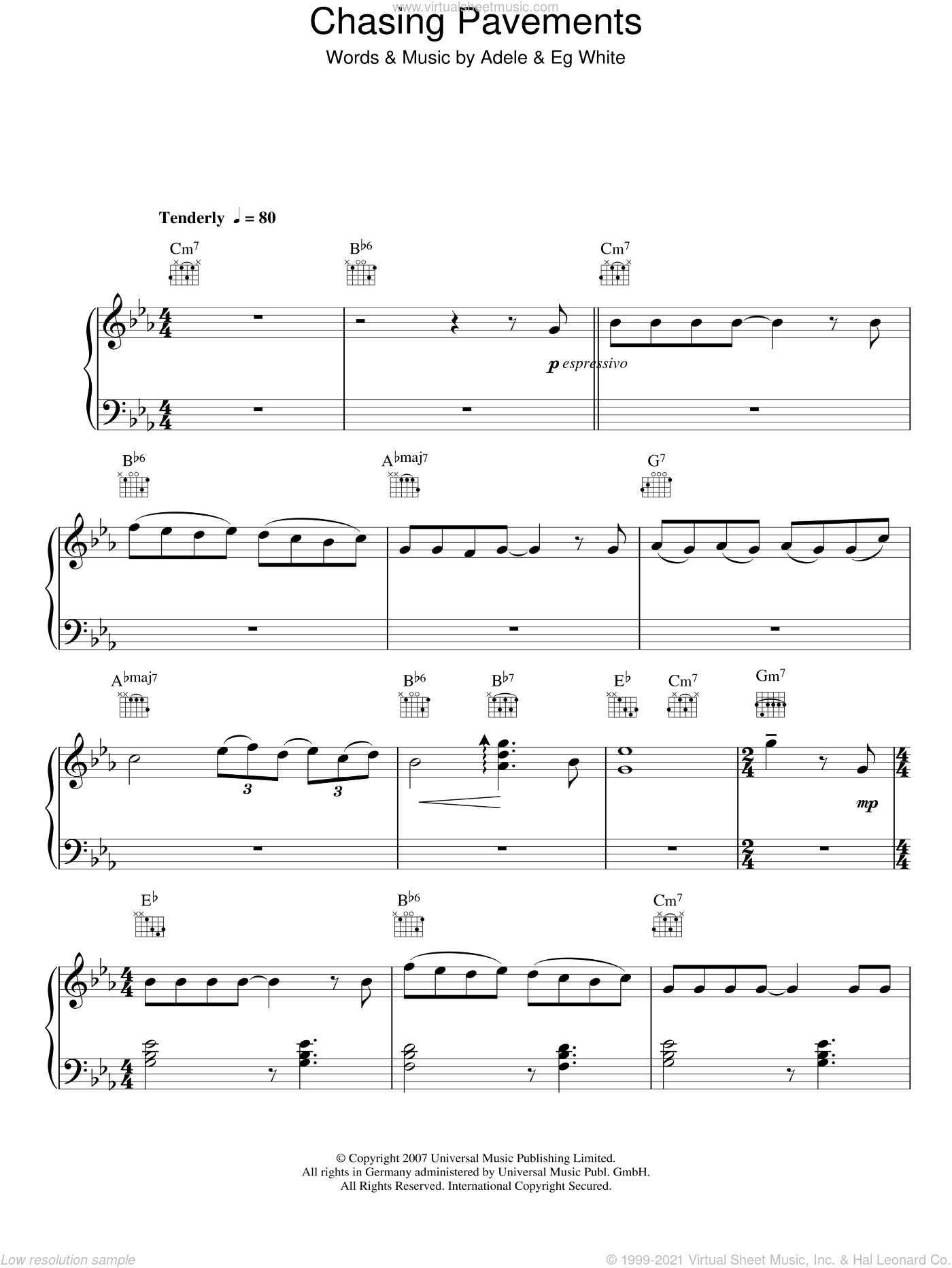 Chasing Pavements sheet music for piano solo by Adele and Eg White, easy skill level