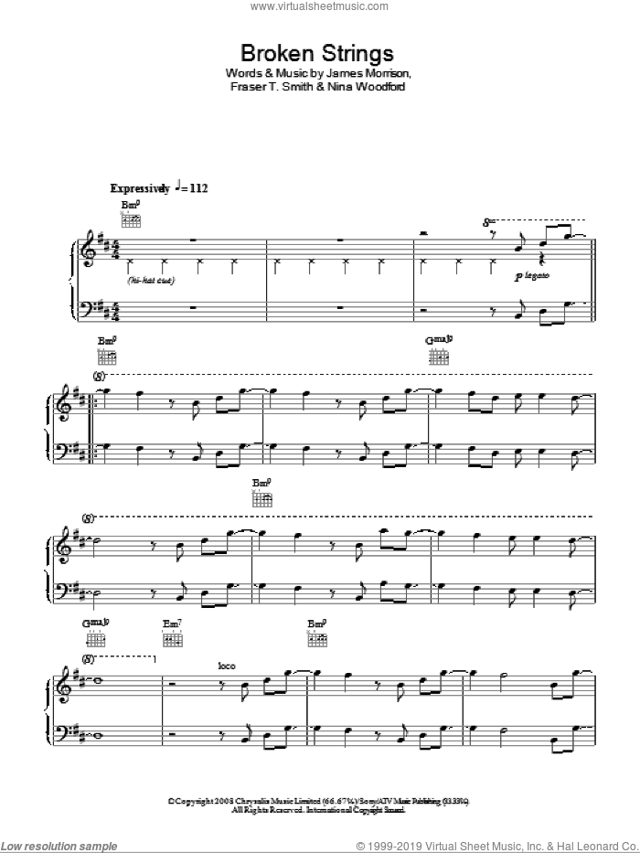 Broken Strings sheet music for piano solo by James Morrison, easy piano. Score Image Preview.