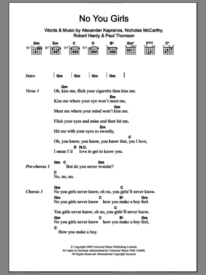 No You Girls sheet music for guitar (chords) by Franz Ferdinand. Score Image Preview.