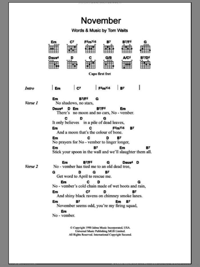November sheet music for guitar (chords) by Tom Waits, intermediate. Score Image Preview.