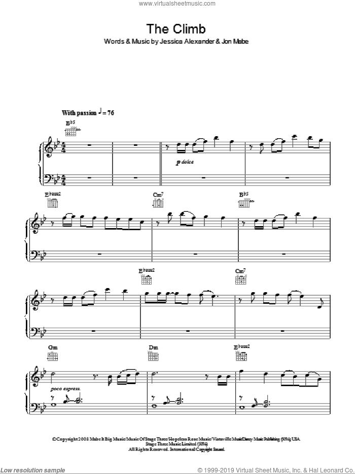 The Climb sheet music for piano solo by Miley Cyrus, Joe McElderry, Jessica Alexander and Jon Mabe, easy skill level
