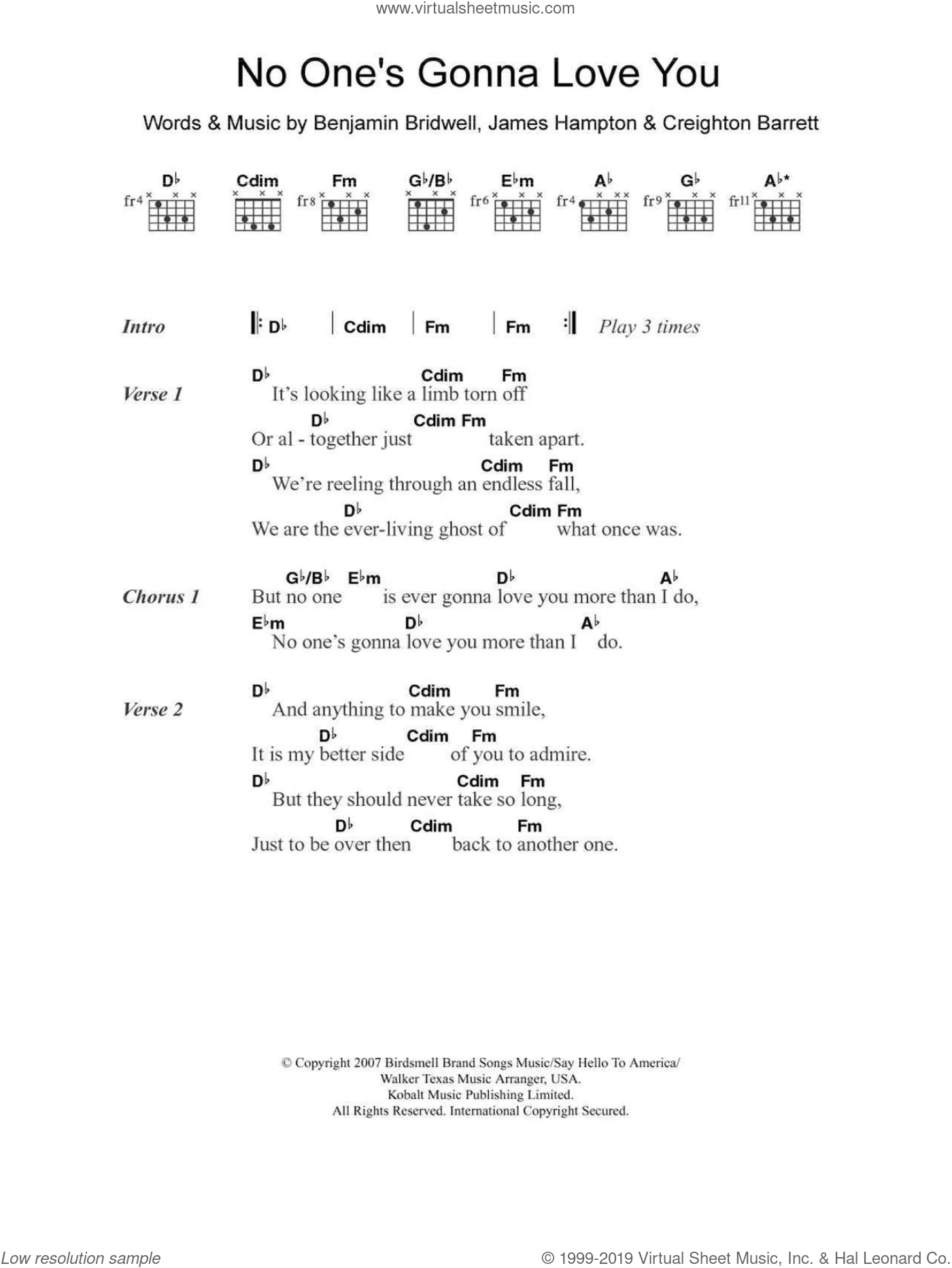 No One's Gonna Love You sheet music for guitar (chords) by James Hampton and Benjamin Bridwell. Score Image Preview.